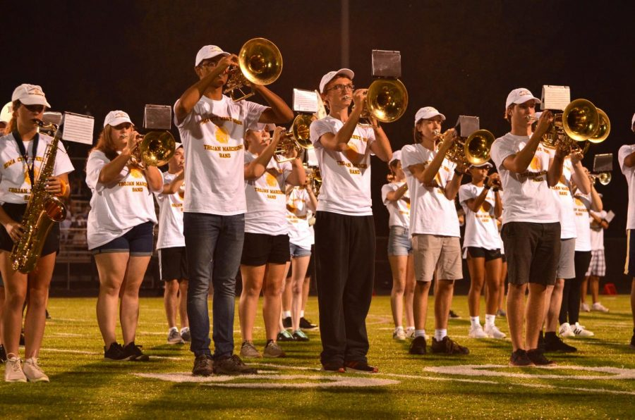 The marching band playing at halftime during the West vs. Rams game on Sept. 20. The Trojans lost that game 23-21.
