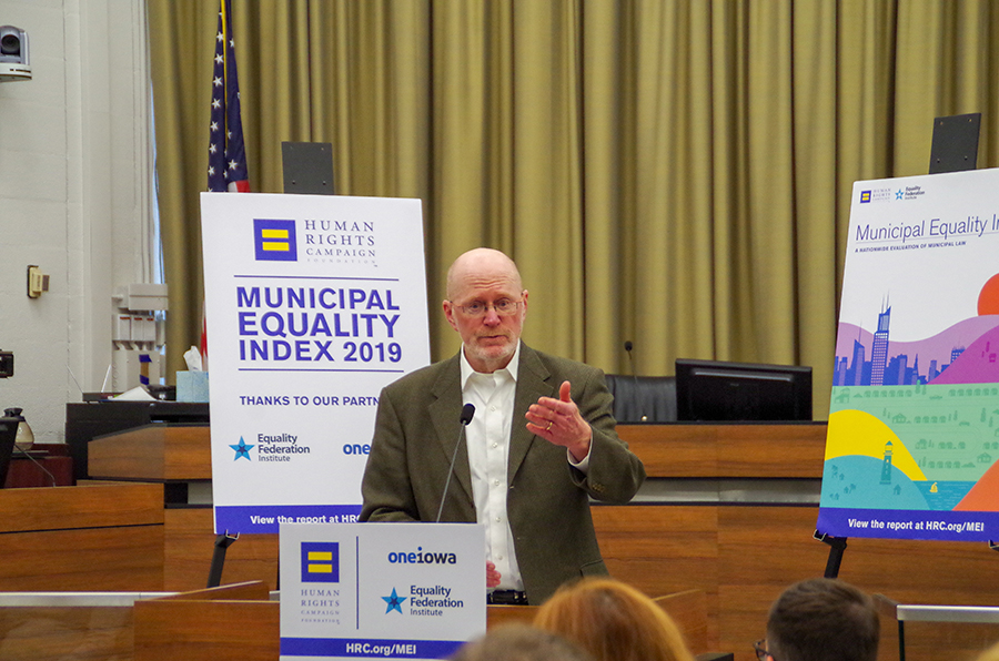 """Mayor James Throgmorton speaks at the MEI scorecard launch on Tuesday, November 19. """"We regularly review and update city policies to protect our residents from harm. And to provide a safe and supportive environment for everybody."""""""