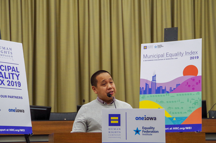 """""""It makes me proud, not only as a gay man but as a gay person of color, knowing that Iowa City will continue to make strides to make sure our city is safe for all people."""" - Anthony Sivanthaphanith, President of Iowa City Pride"""