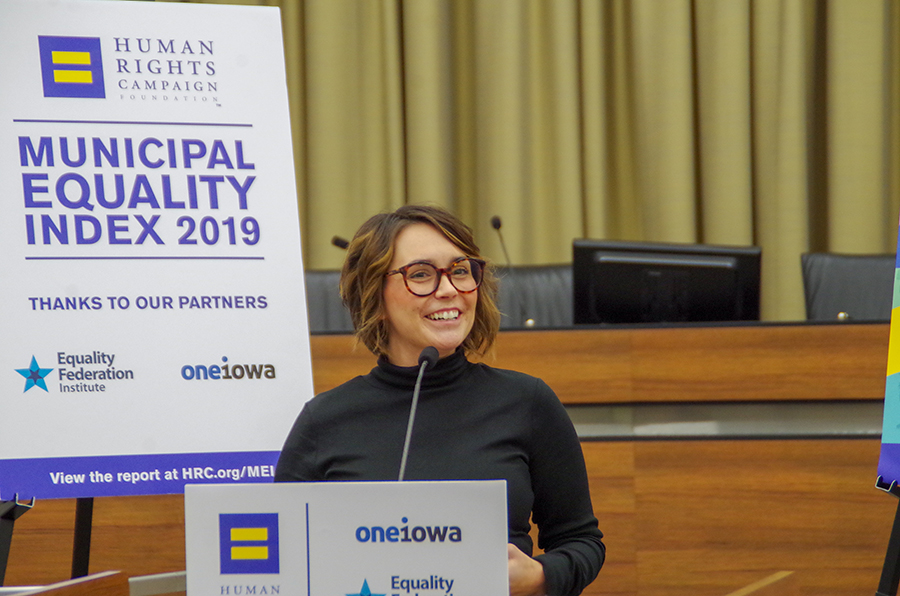 Courtney Reyes is the executive director of One Iowa, an organization founded in 2005 to advocate for same-sex marriage in Iowa. One Iowa is now focused on improving the lives of LGBTQ+ Iowans.