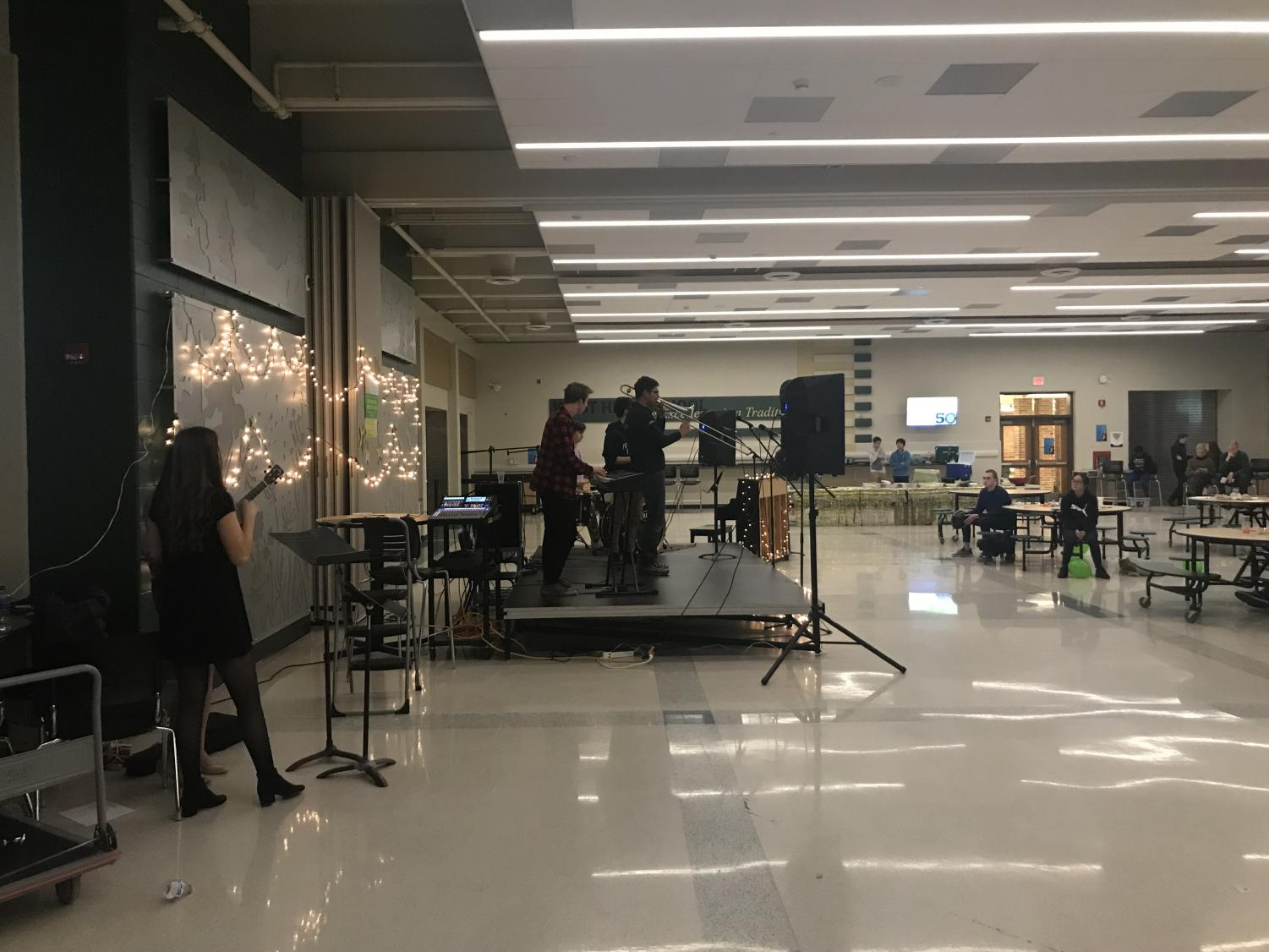 Ethan Buck '21, Andrew Burgess '0, Ty Water '20 and Noah Miller '21 perform