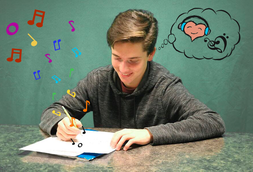 Jacob Gehlbach '21 works on a composition. Gehlbach has been composing since a young age and aspires to one day compose a movie score.