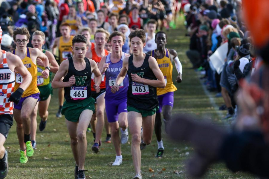 Nicolo+Schianchi+%2722+and+Alex+McKane+%2722+pace+each+other+during+the+state+cross+country+meet+on+Nov.+2+in+Fort+Dodge.