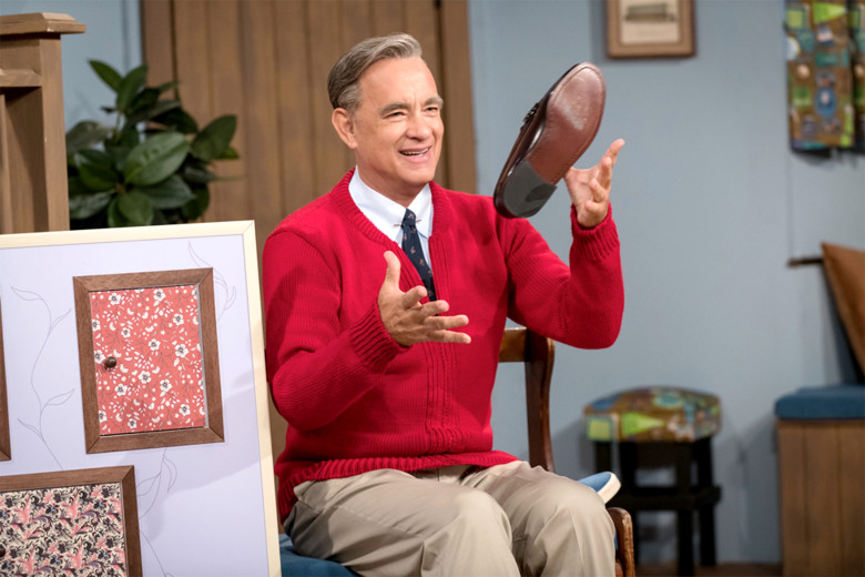 Tom Hanks recreates Mister Rogers famous entrance in the new movie.