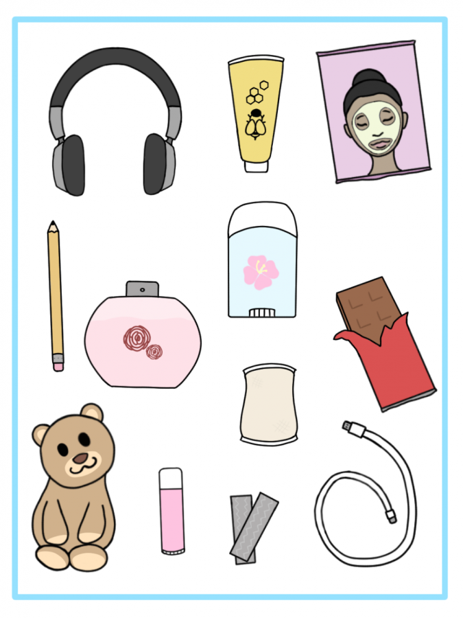 A visual representation of some things that could be included in a self-care package.