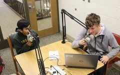 Mohan Kumar ´21 and Ken Wilbur '20 begin recording in the West High library.