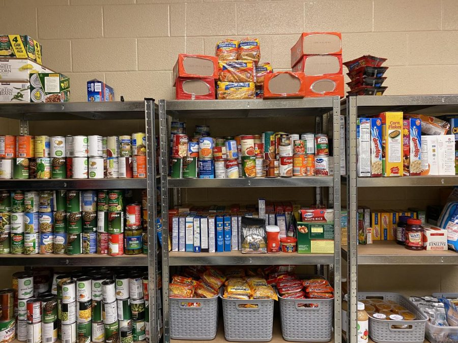 The shelves in room 147 are stocked with canned and non-perishable food.