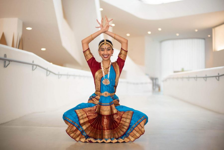 Advika Shah '22 executes a dance position for the camera. Every gesture and limb carries a unique meaning in this form.