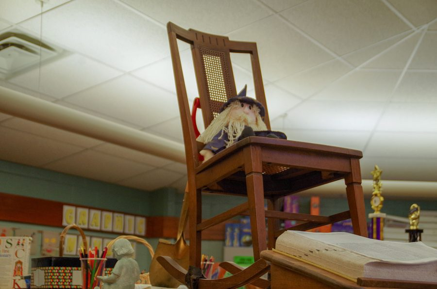 Kate Wickham's rocking chair is currently on display in the media center at Wickham Elementary.