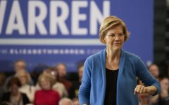 Sen. Elizabeth Warren holds a pre-caucus rally at West on Feb. 1.