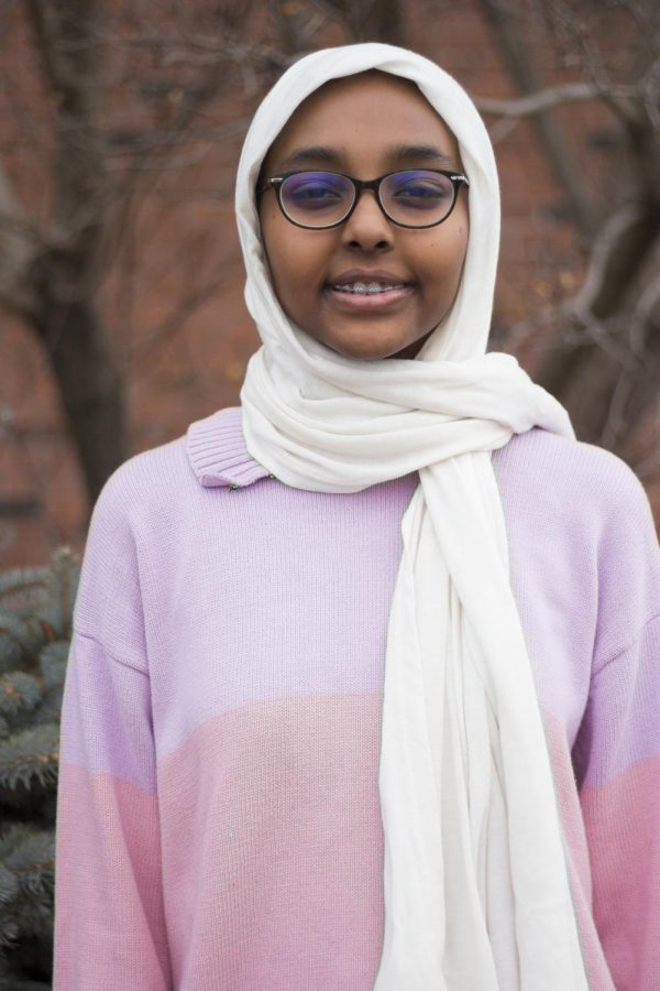 """""""I wanted to start wearing one because my mom wore one,"""" said Amina Ahmed '20. The lack of options in Iowan stores leads her to buy her scarves when she visits Sudan."""