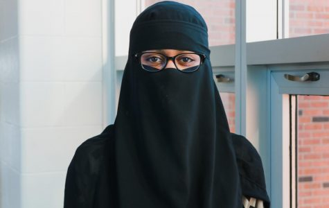 Hayate Mustefa '23 wears a niqab, a garment that incorporates a face covering in addition to a headscarf.