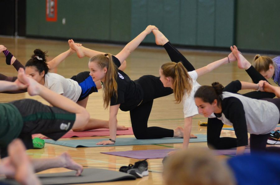 Student-athletes hold a position during the yoga session on Sunday, Mar. 8.