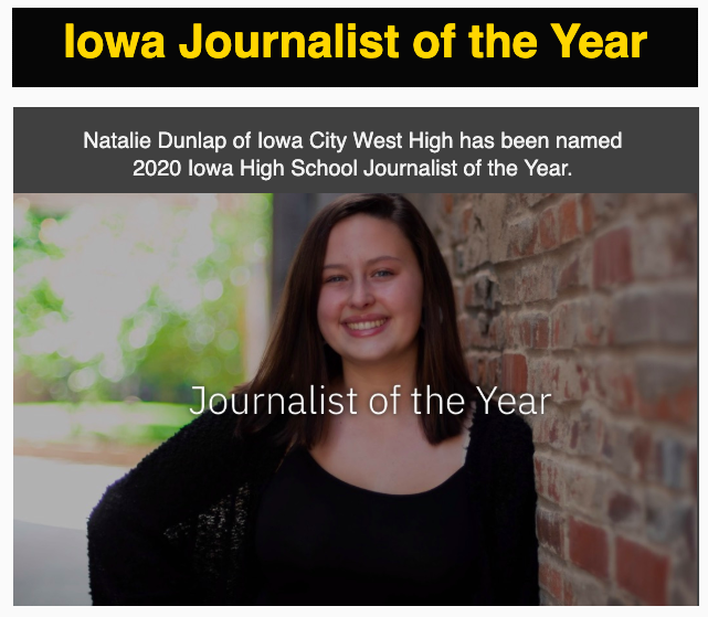 WSS online editor-in-chief Natalie Dunlap '20 is Iowa's Journalist of the Year.