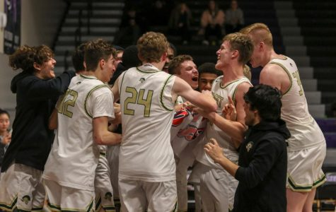 Nick Pepin '20 and his teammates celebrate as they advance to the state tournament in their win over Pleasant Valley on March 3.