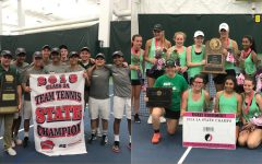 The boys and girls tennis teams pose after winning state titles at the Hawkeye Tennis and Recreation Center.