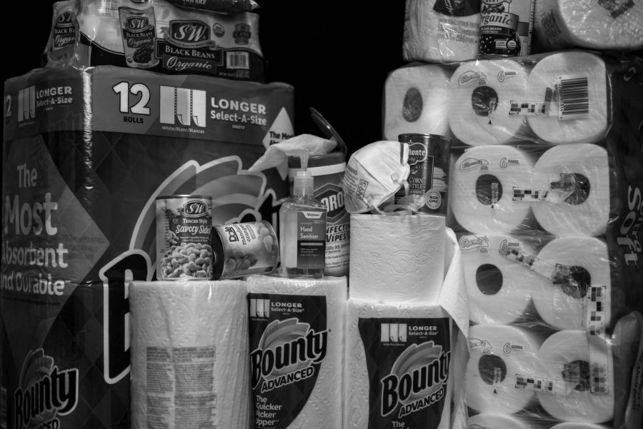 A stockpile of essential household items represents an increase in consumption during the COVID-19 pandemic, which has caused shortages of certain items.