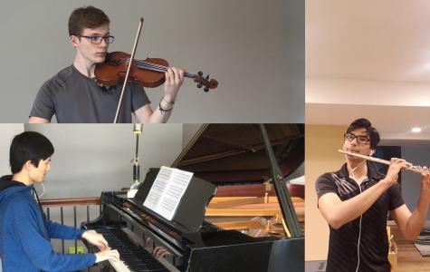 Liam Edberg '22, Bivan Shrestha '22 and Jonathan Chen '22 perform in a virtual trio.
