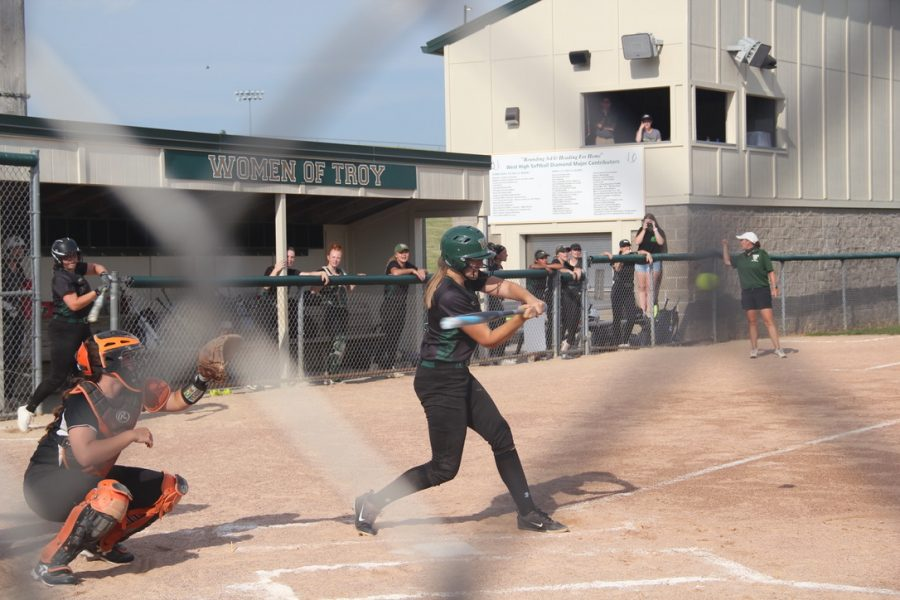 Number 14 Maddie Caylor '22 prepares to strike the ball during the second inning.