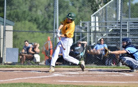 Ben Vander Leest '20 makes contact with a ball on June 25.