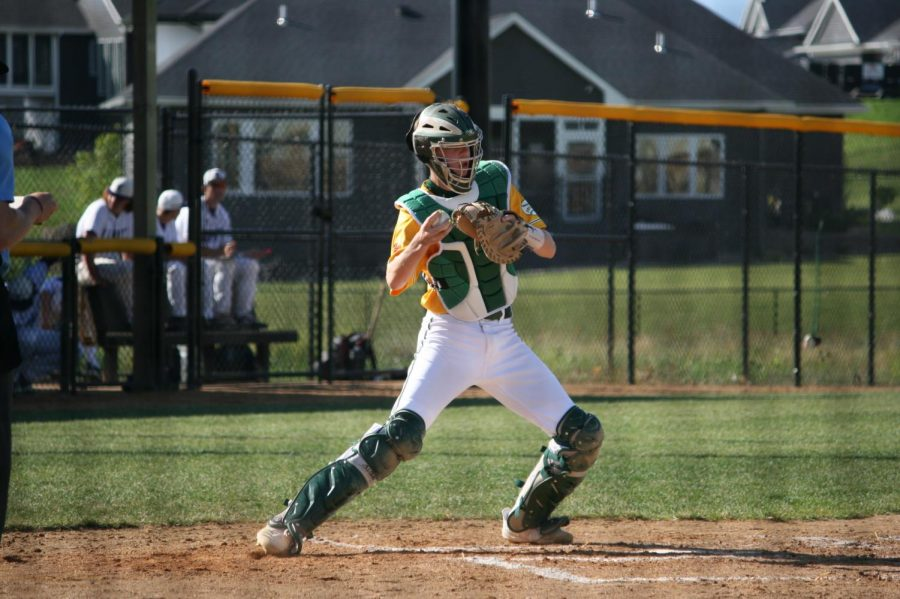 Matthew Cupp '20 tries to force out a base runner at the Liberty doubleheader.