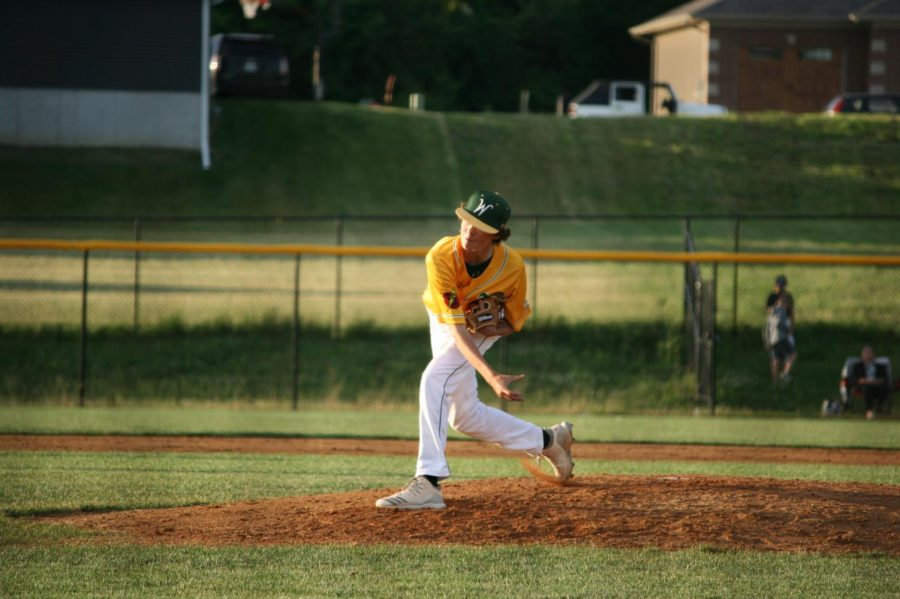 Noah Desaulniers '22 pitches late in the second doubleheader game.