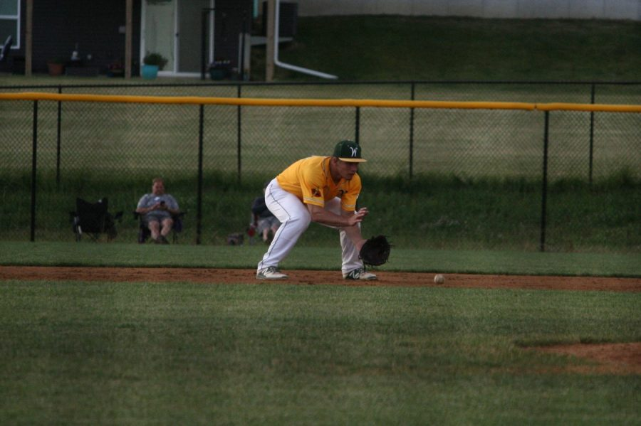 Will Hoeft '20 scoops up the ball in the first game.