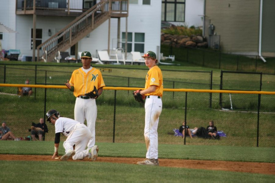 Marcus Morgan '21 and Ben Vander Leest '20 question a call by the umpire.