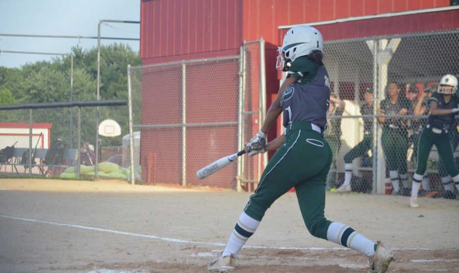 Tamiah Teran '23 swings the bat in the regional semifinal on July 18.