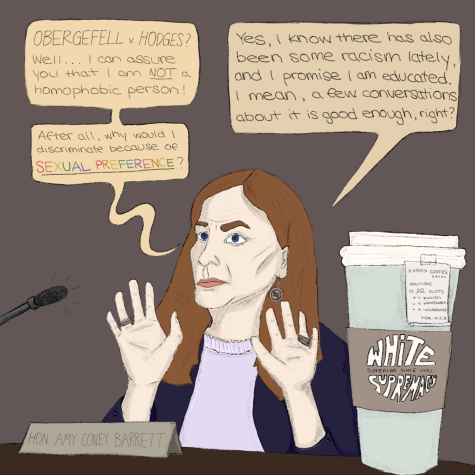 Caroline's Comics features Amy Coney Barrett during her Supreme Court hearings as the presidential election approaches.