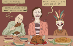 Jeff Bezos, Gov. Kim Reynolds and a schoolchild appropriating Indigenous culture celebrate Thanksgiving, disregarding COVID-19 preventative measures.