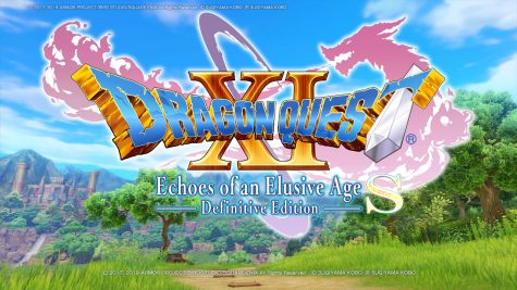 "The main title screen of ""Dragon Quest XI S: Echoes of an Elusive Age - Definitive Edition."""