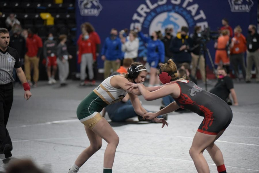 Emma Barker '22 fights hard in her last match of the constellation bracket Jan. 22.