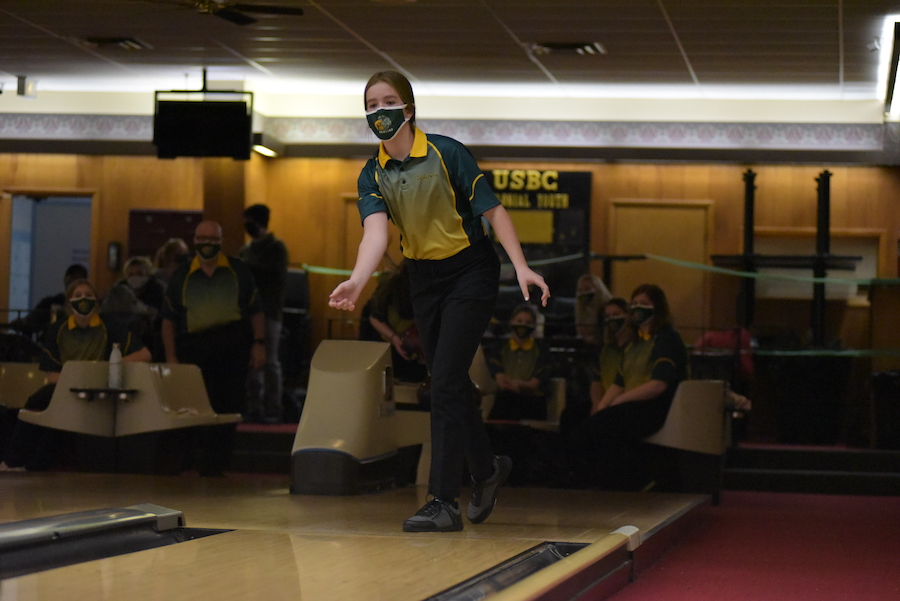 Whitney Noeller '24 finishes her throw during the Battle for the Pins Jan. 7.