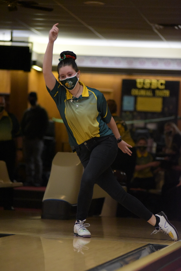 Neena Turnblom '23 bowls during the Battle for the Pins Jan. 7.