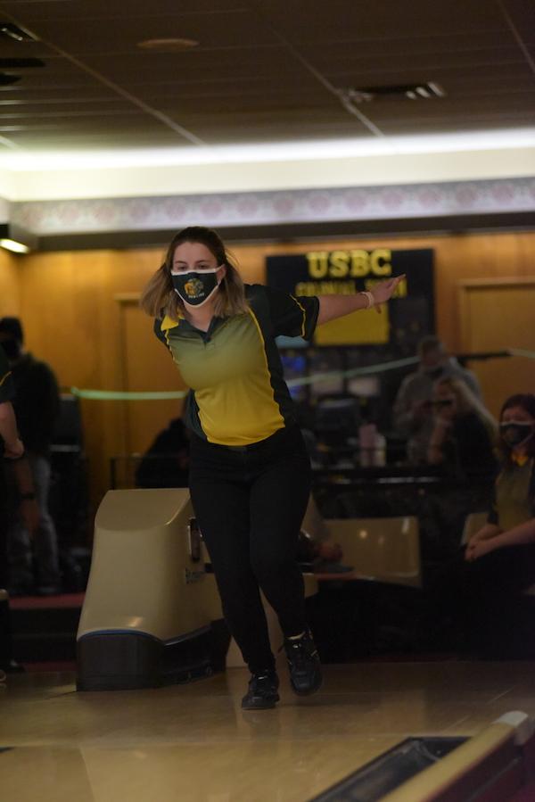 Jordynn Brackett '21 uses her momentum and swings the ball toward the pins Jan. 7.