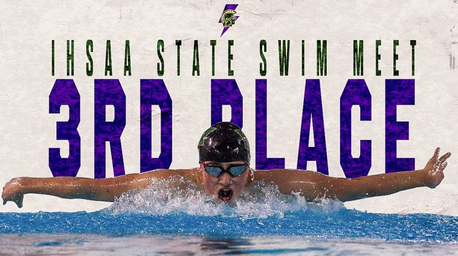 The boys swim team placed third at the Iowa high school state swim meet in Marion on Feb. 13. The team finished with 208.5 points.