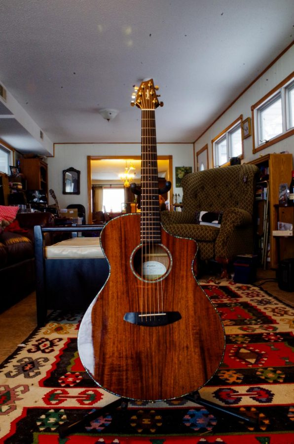 The Breedlove Pursuit Exotic CE Koa-Koa is Gwen Watson's favorite acoustic guitar. They bought it in 2018.
