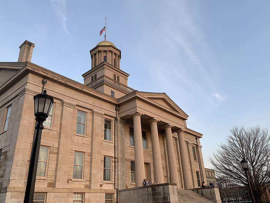 The Old Capitol building in Iowa City. The view of this old, historic building at sunset is lovely to see.