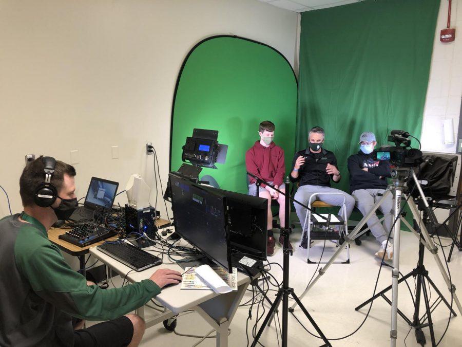 In the Broadcast room,  Tyler Meade, Alex Arens 23, Garrett Hartwig and Lyova Merkle 23 film GGTV.