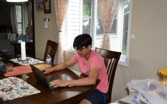 Bivan Shrestha '22 works on the last assignments of the school year.