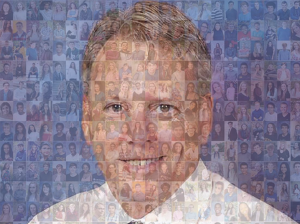 A photo collage of Dr. Shoultz and the senior class of 2018 that appeared in the 2018 senior issue of West Side Story.