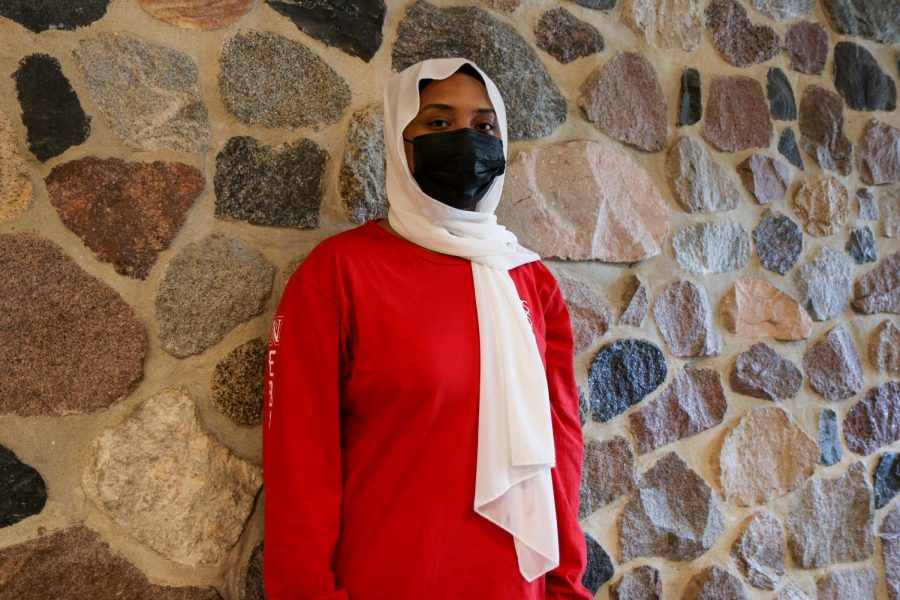Mayasa Hamid '23 is posing for photo. I wanted to keep my mask on to create a good example for students. Hamid said.