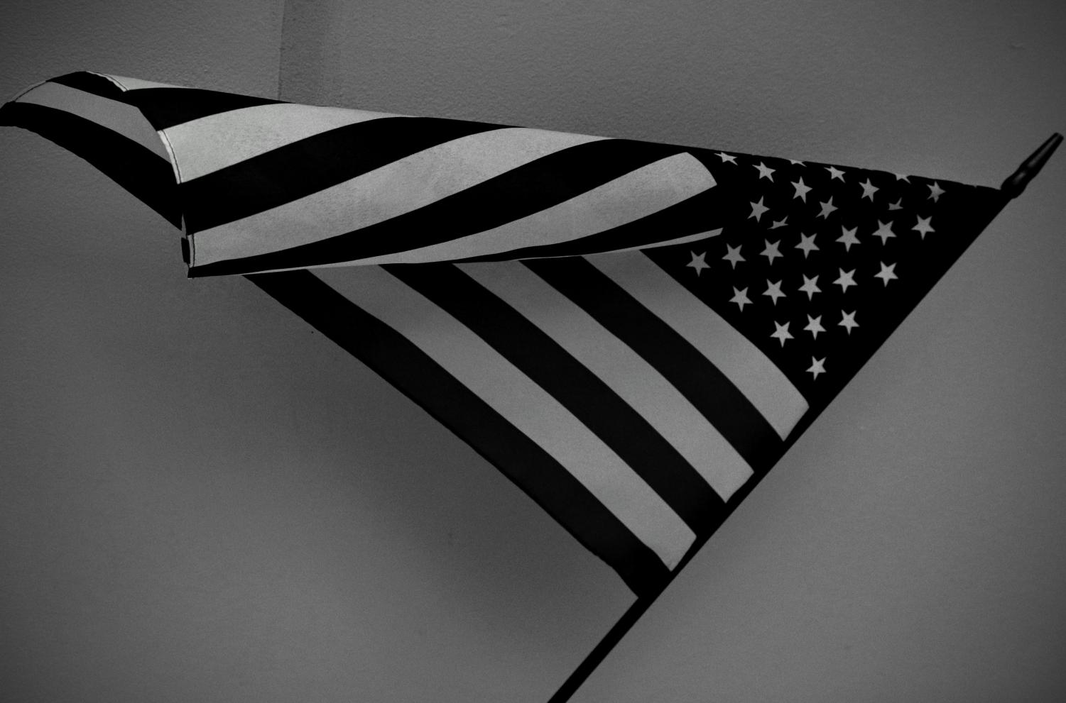 The American flag hangs in a West High classroom on Sept. 7.
