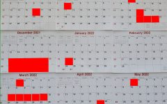 The red boxes marks the number of days off left in the school calendar.